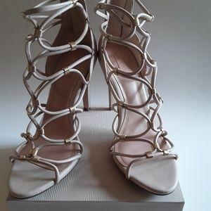 ALDO Tan Strappy Leather/ Gold Link Open Toe Heels